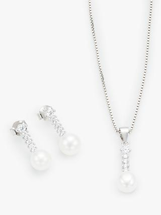 38cca18f5c Lido Pearl and Cubic Zirconia Drop Earrings and Pendant Necklace Jewellery  Gift Set, Silver/