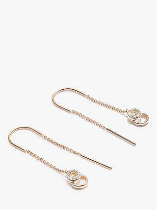 Modern Rarity Diamond Link Hoop Thread Drop Earrings