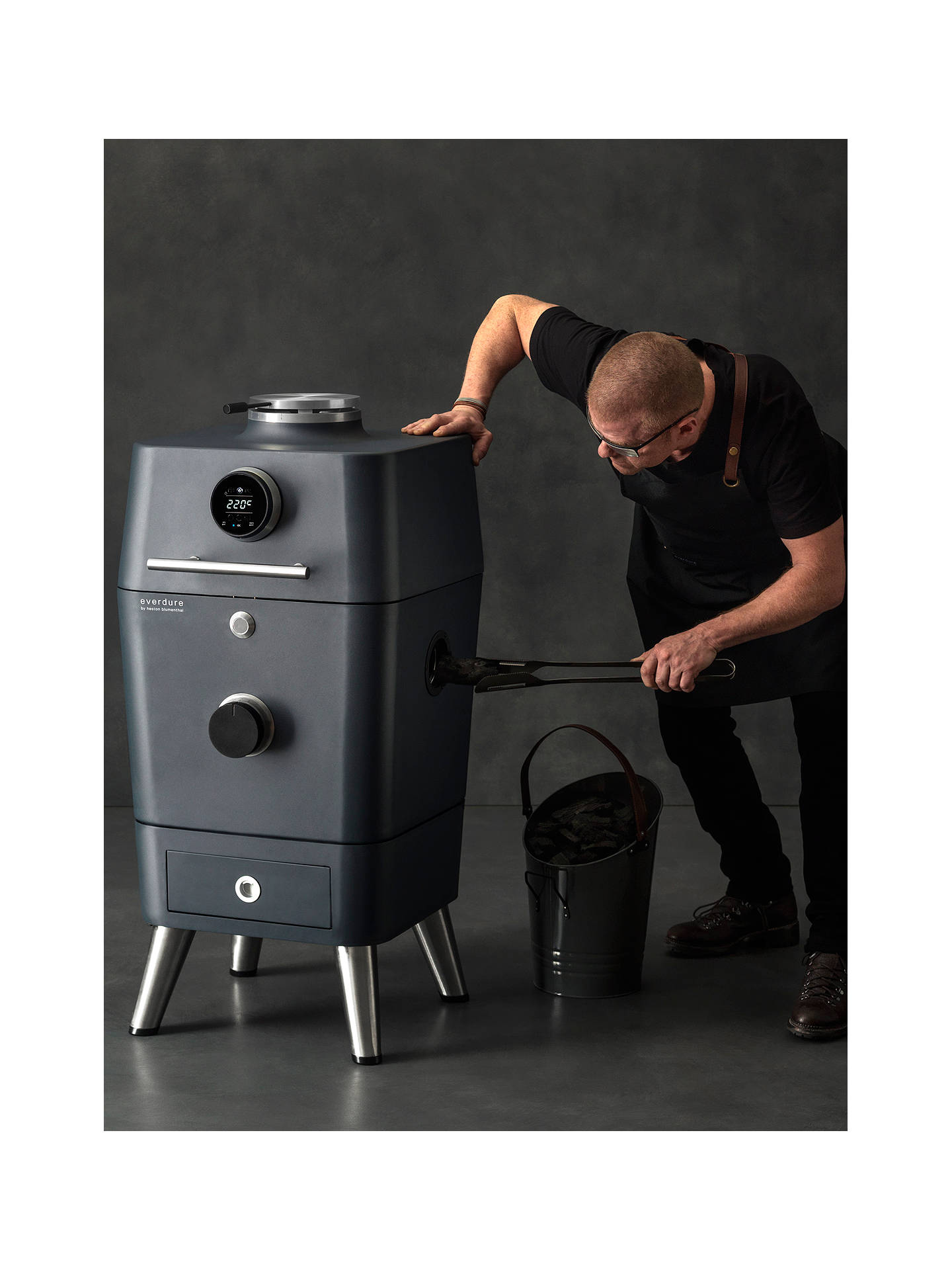 Buy everdure by heston blumenthal 4K Outdoor Electric Ignition Charcoal BBQ Cooker, Black Online at johnlewis.com