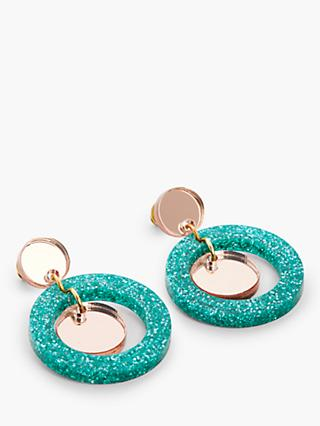 Toolally Glitter Circle Drop Earrings, Teal/Gold