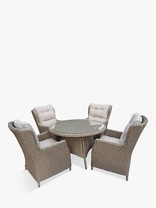 LG Outdoor Saigon 4 Seat Garden Dining Table & Chairs Set, Natural