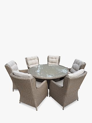 LG Outdoor Saigon 6 Seat Garden Dining Table & Chairs Set, Natural