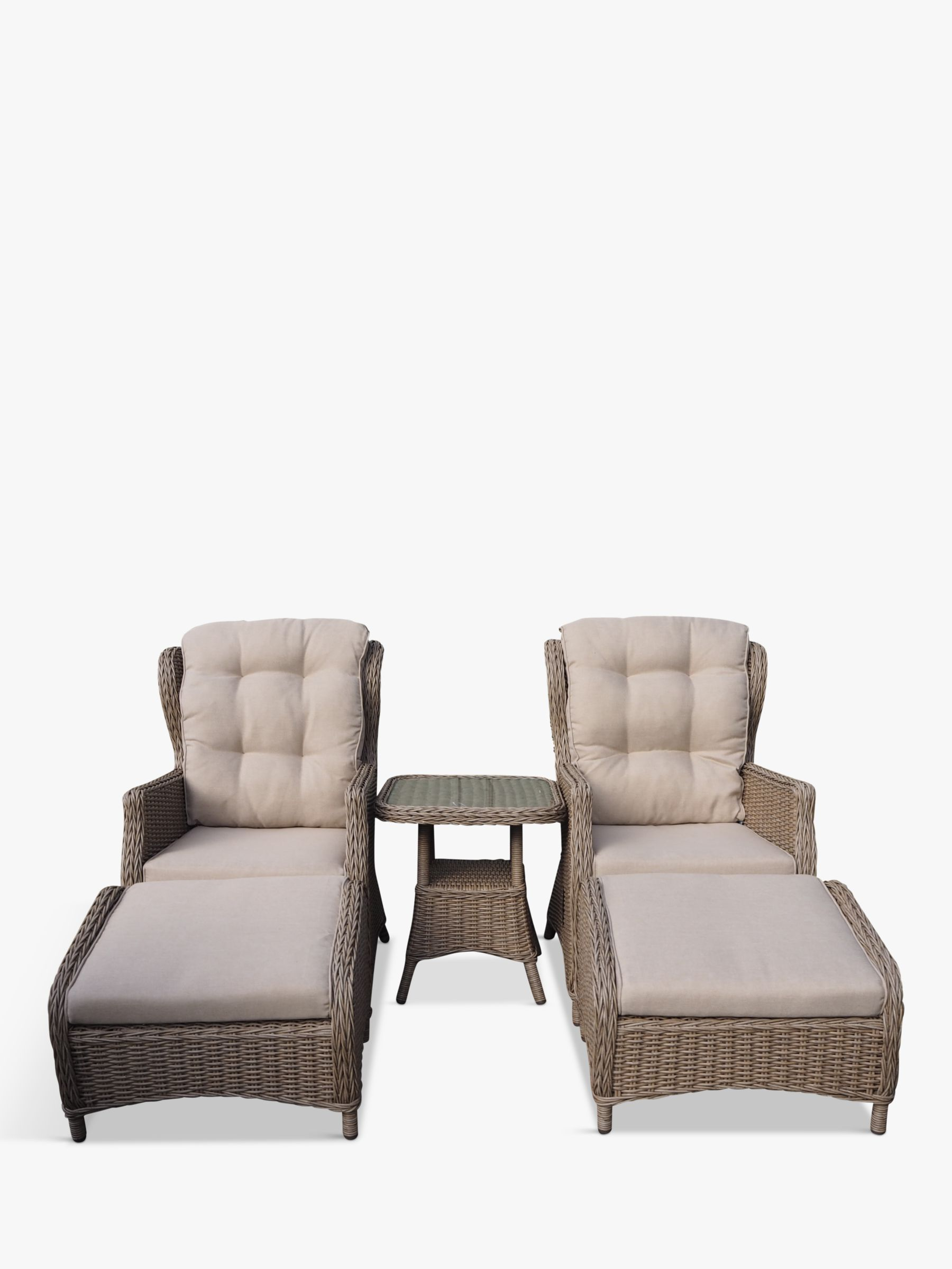 LG Outdoor LG Outdoor Saigon 2 Seat Garden Relaxer Table & Chairs Set, Natural