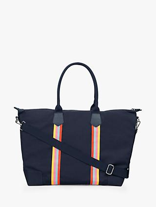hush Fairfax Stripe Print Holdall, Denim/Multi