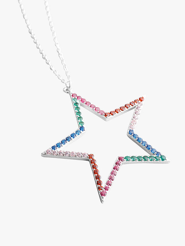 hush Rainbow Star Pendant Necklace, Silver/Multi at John