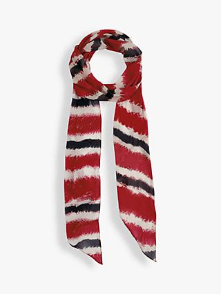 hush Artesia Stripe Skinny Scarf, Red/Multi