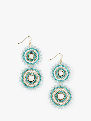 hush Statement Loop Beaded Drop Earrings, Aqua/Multi