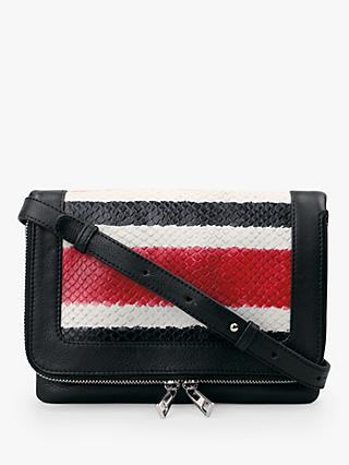 hush Maud Stripe Cross Body Bag, Black Snake/Multi