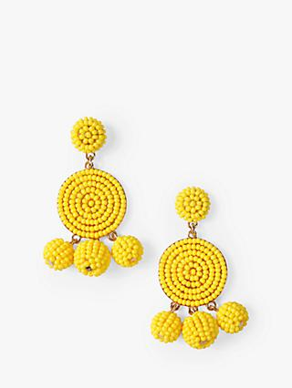 hush Statement Beaded Drop Earrings, Yellow