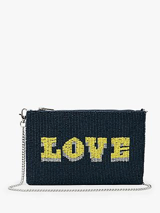 hush love Beaded Chain Strap Clutch Bag, Navy