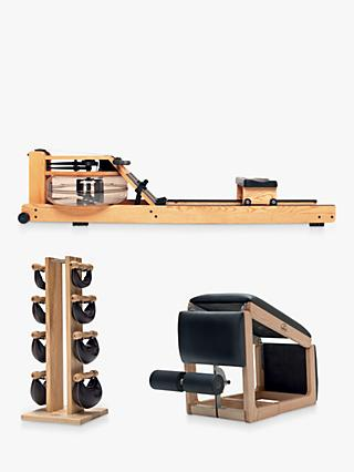 NOHrD by WaterRower Rowing Machine with S4 Performance Monitor,  3-in-1 Tria Trainer Bench & Swing Bell Weights Tower Set, Ash