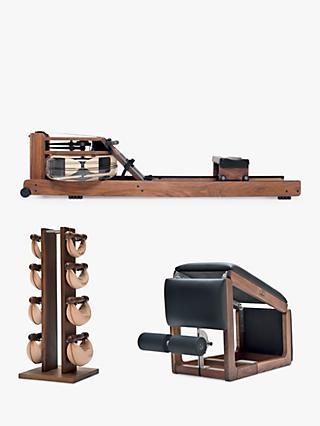 NOHrD Rowing Machine with S4 Performance Monitor, 3-in-1 TriaTrainer Bench & Swing Bell Weights Tower Set, Walnut