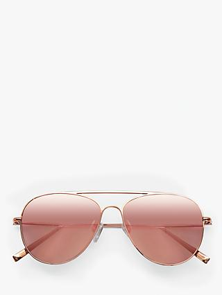 hush Women's Isla Aviator Sunglasses, Rose Gold/Pink
