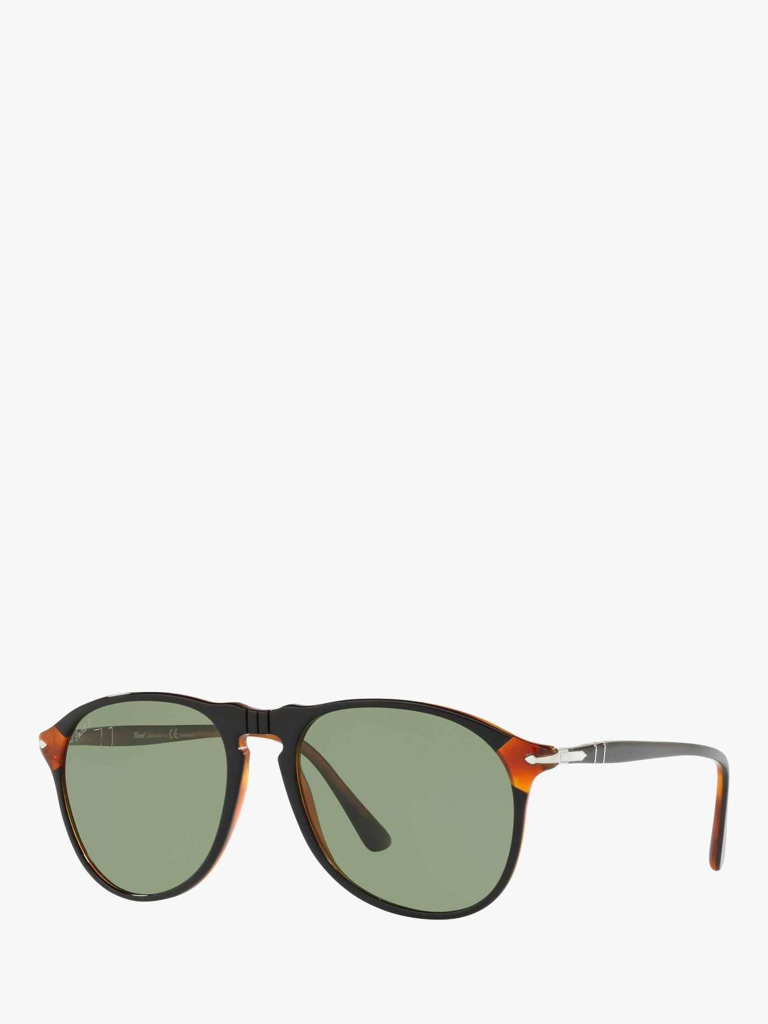 Persol Persol PO6649S Men's Pilot Polarised Sunglasses, Black/Green