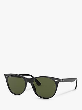 Ray-Ban RB2185 Women's Wayfarer II Evolve Polarised Sunglasses, Black/Green