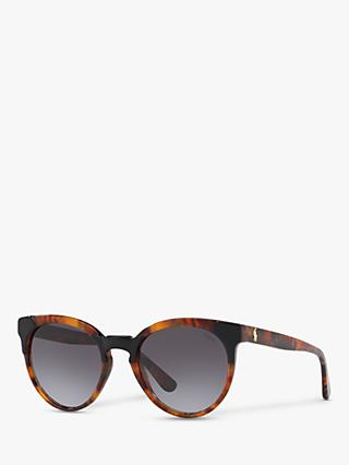 Polo Ralph Lauren PH4147 Women's Phantos Sunglasses, Black Jerry Havana/Grey Gradient