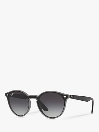 Ray-Ban RB4380N Women's Oval Sunglasses, Black/Grey Gradient