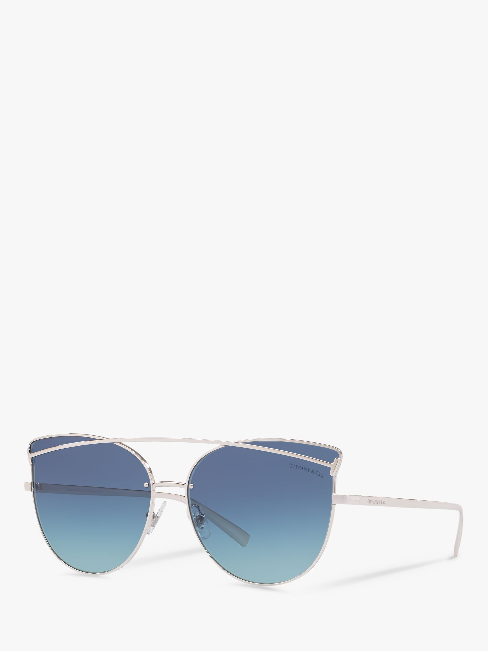 Tiffany & Co Tiffany & Co TF3064 Women's Cat's Eye Sunglasses, Silver/Blue Gradient
