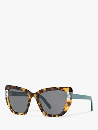 Prada PR 08VS Women's Cat's Eye Sunglasses, Havana Teal/Clear