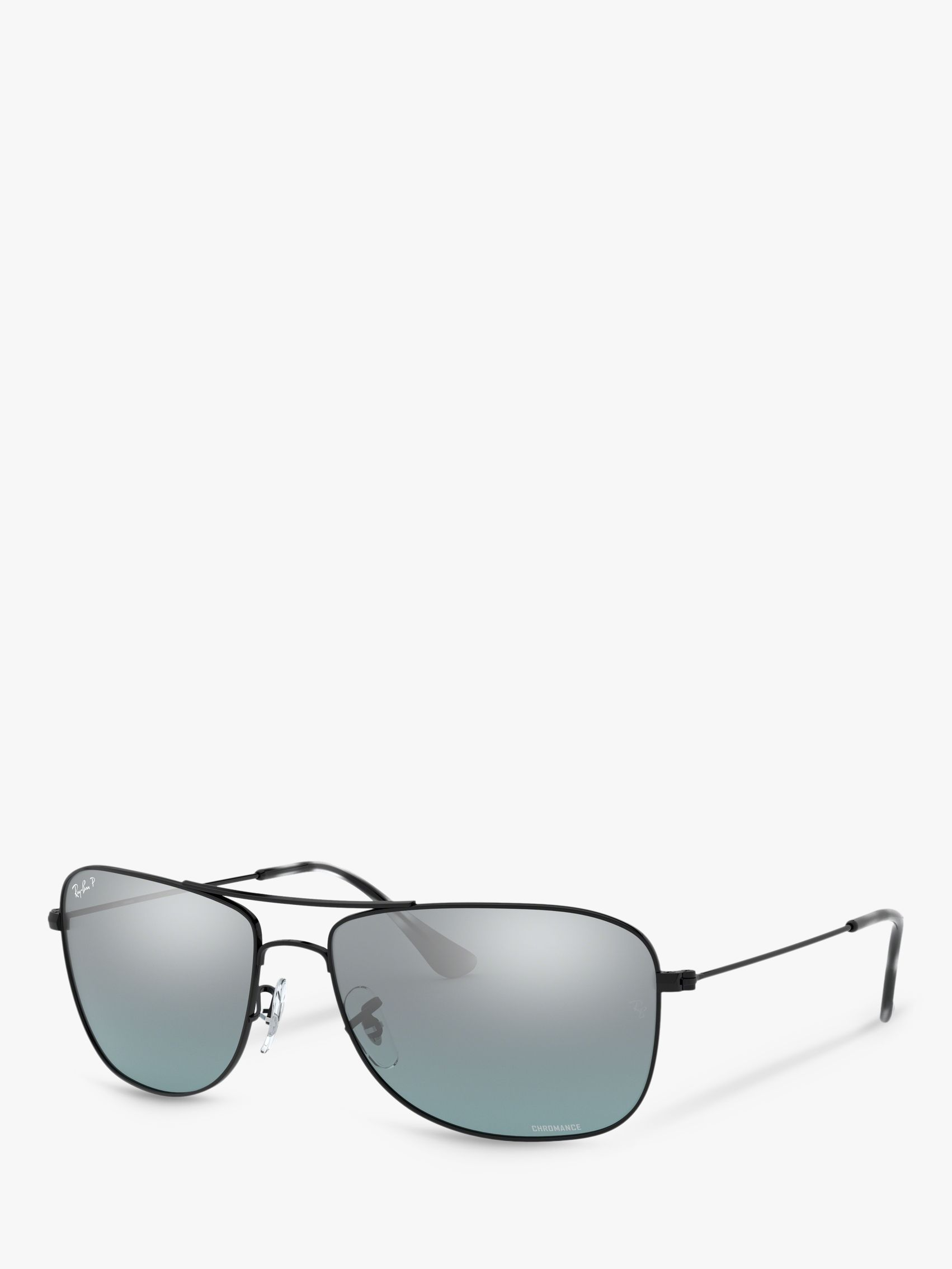 f0661d3354 Ray-Ban RB3543 Women's Polarised Aviator Sunglasses, Black/Mirror Silver