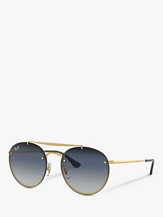 Ray-Ban RB3614N Women's Oval Sunglasses, Gold/Blue Gradient