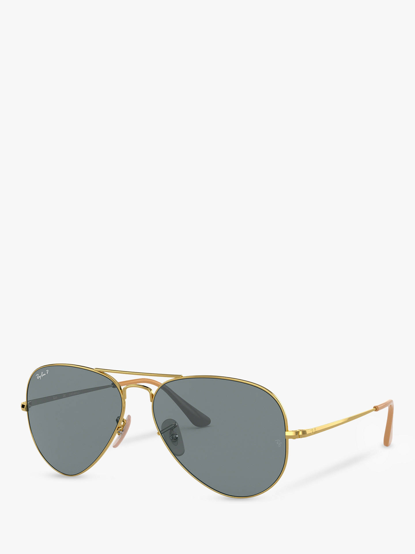 204708af8 Buy Ray-Ban RB3689 Women's Polarised Aviator Sunglasses, Gold/Blue Online  at johnlewis ...