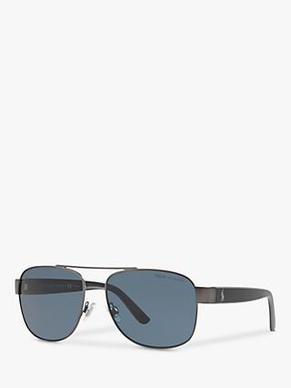 f226ddebd Ralph Lauren PH3122 Men's Polarised Pilot Sunglasses, Matte Dark Gunmetal