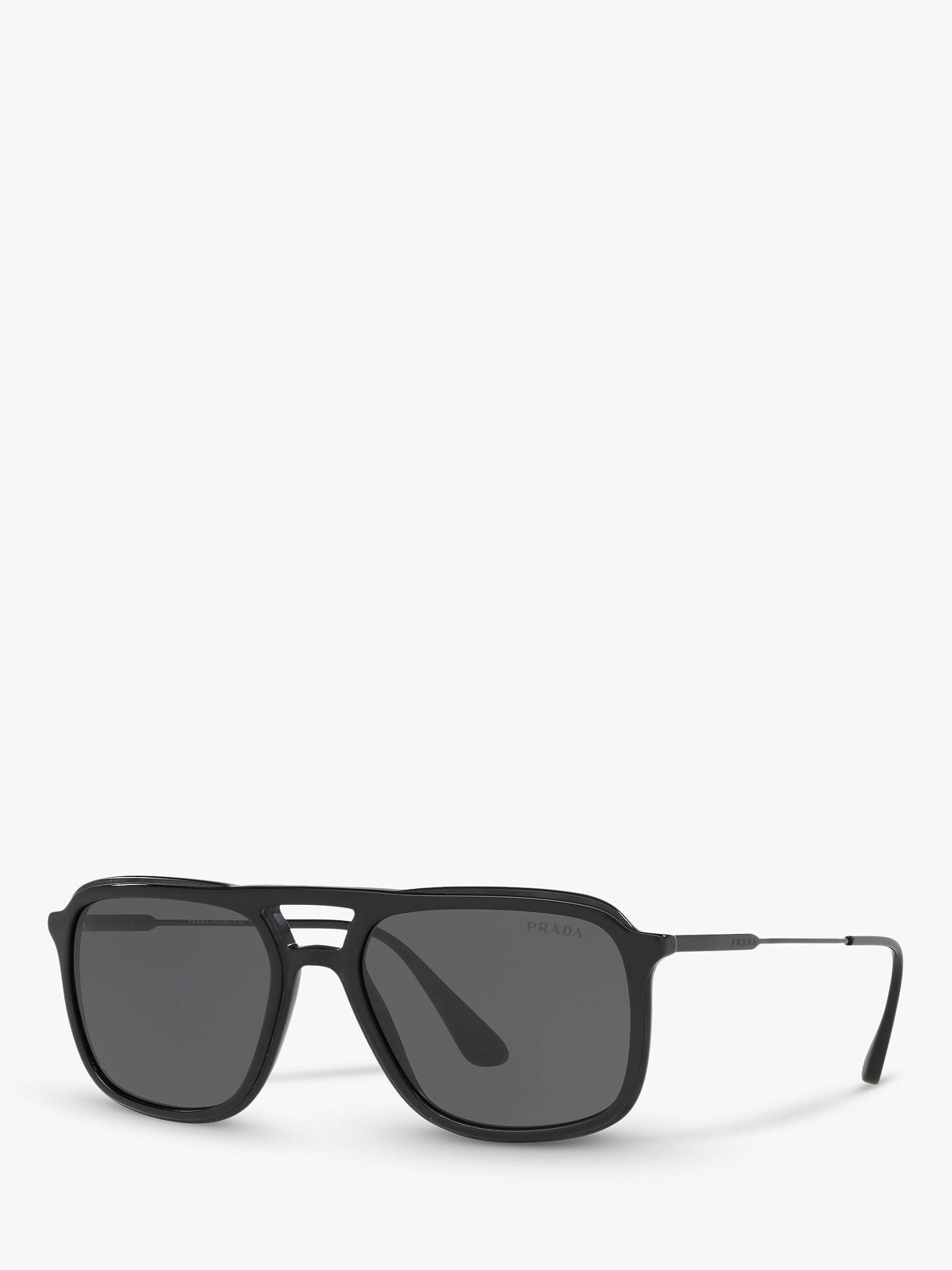 9248f7330ea9 Buy Prada PR 06VS Men's Square Sunglasses, Black/Grey Online at johnlewis.  ...