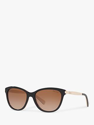Ralph RA5201 Women's Cat's Eye Sunglasses, Black/Nude