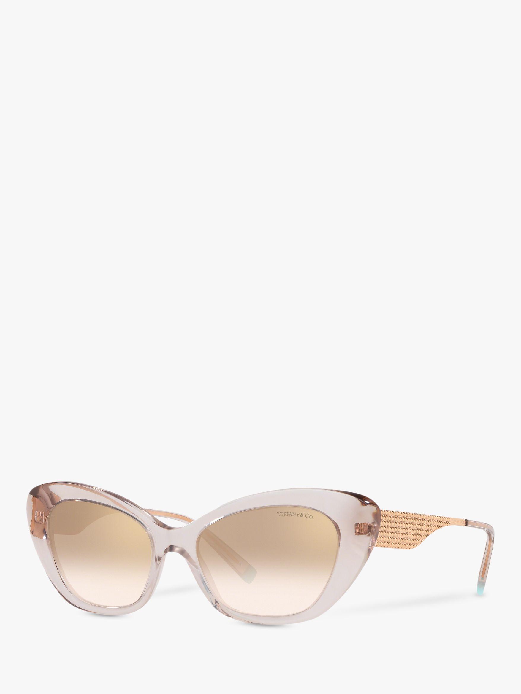 Tiffany & Co Tiffany & Co TF4158 Women's Cat's Eye Sunglasses, Clear Pink/Brown Gradient