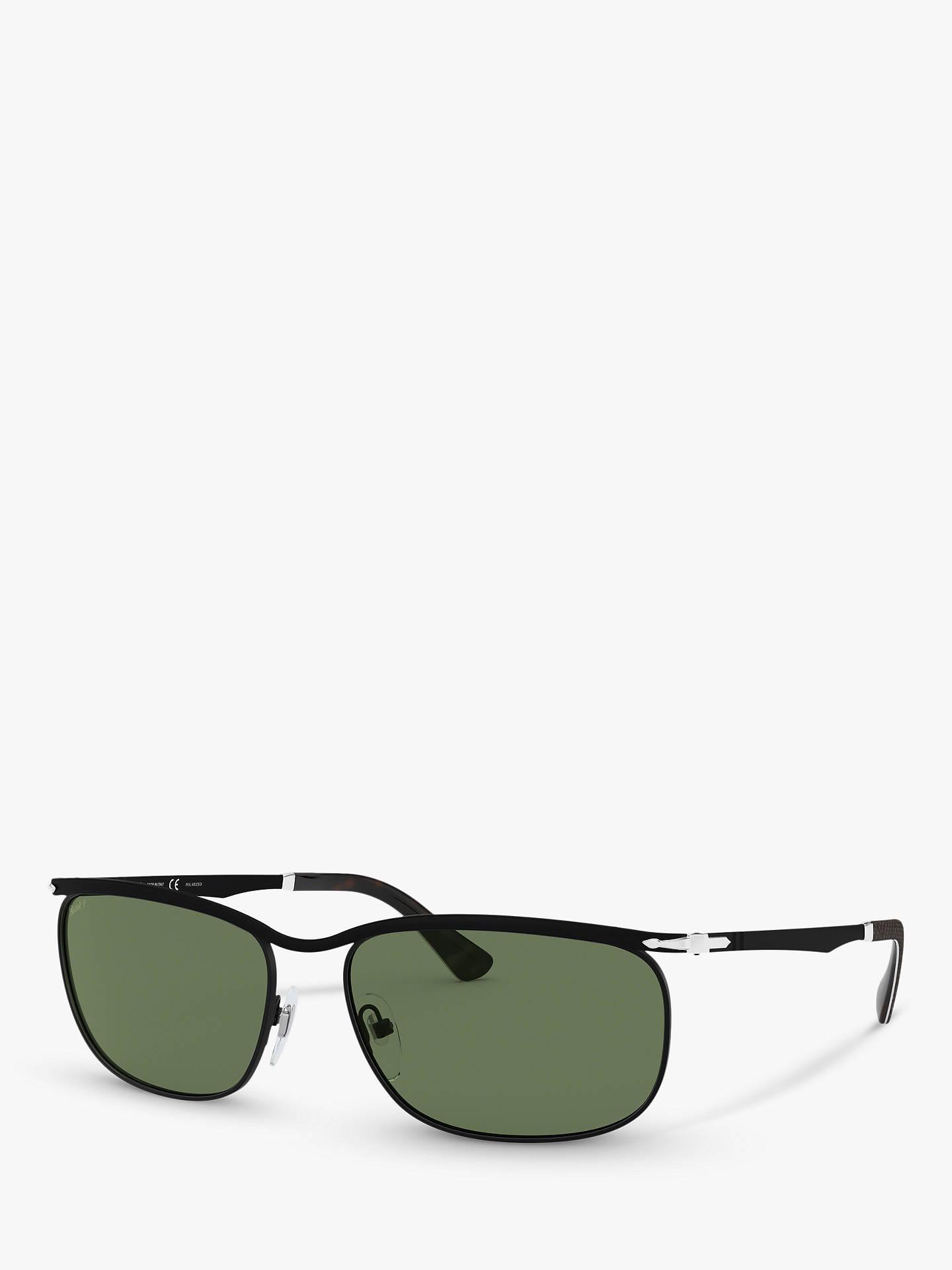 331241142870 Buy Persol PO2458S Men's Polarised Rectangular Sunglasses, Black/Green  Online at johnlewis. ...