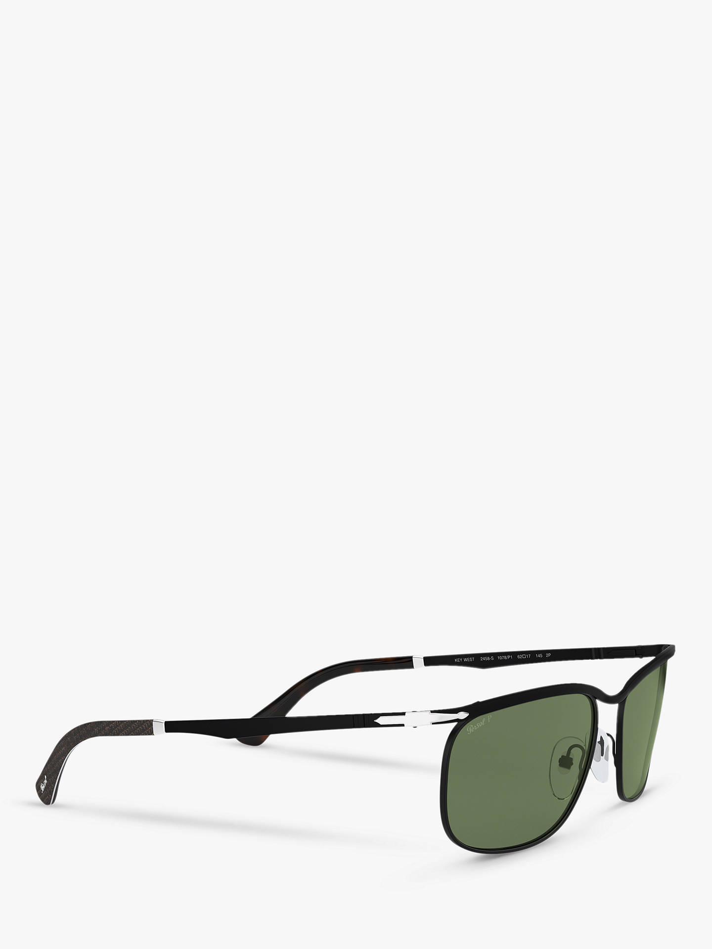 2d09bbad1745 ... Buy Persol PO2458S Men's Polarised Rectangular Sunglasses, Black/Green  Online at johnlewis.com