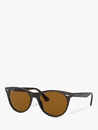 Ray-Ban RB2185 Women's Wayfarer II Evolve Polarised Sunglasses, Tortoise/Brown