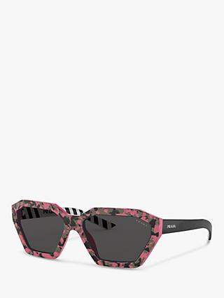 Prada PR 03VS Women's Rectangular Sunglasses, Camouflage Pink/Grey