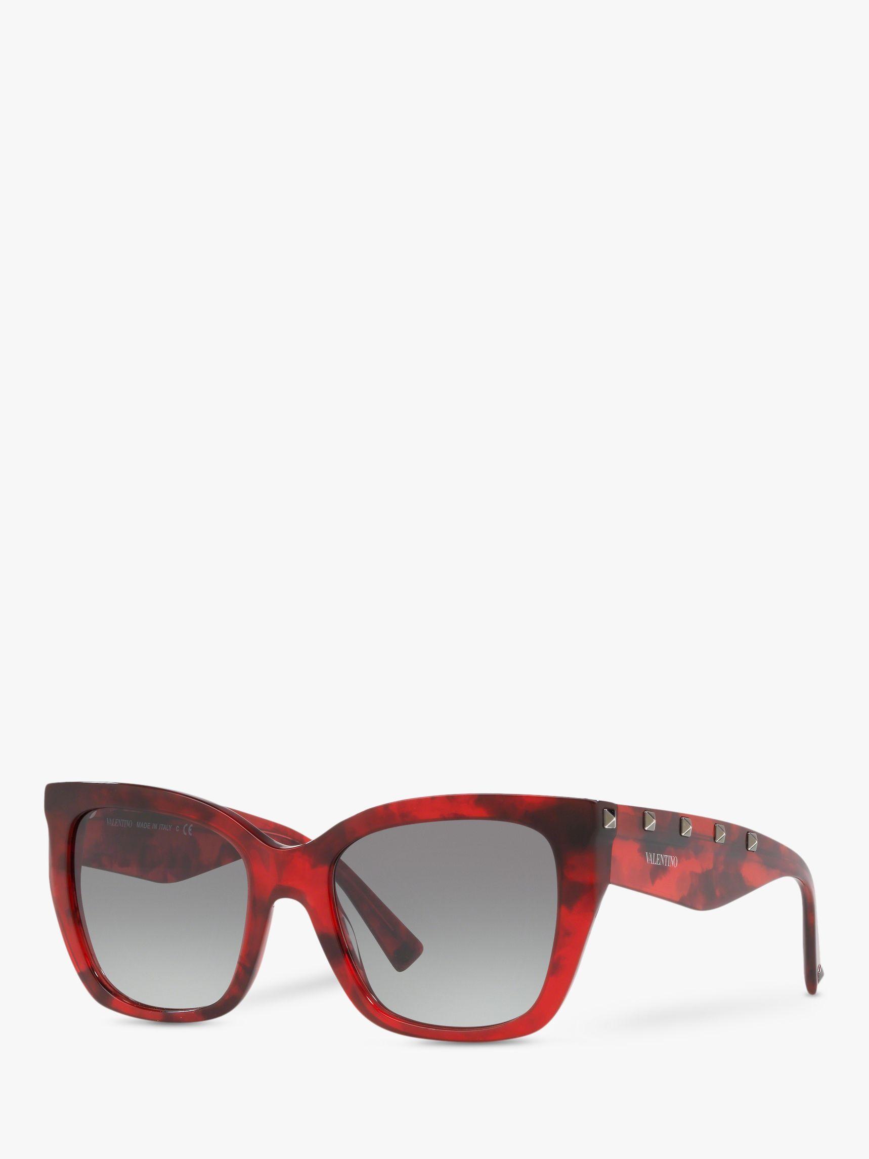 Valentino Valentino VA4048 Women's Studded Cat's Eye Sunglasses, Red Havana/Grey Gradient