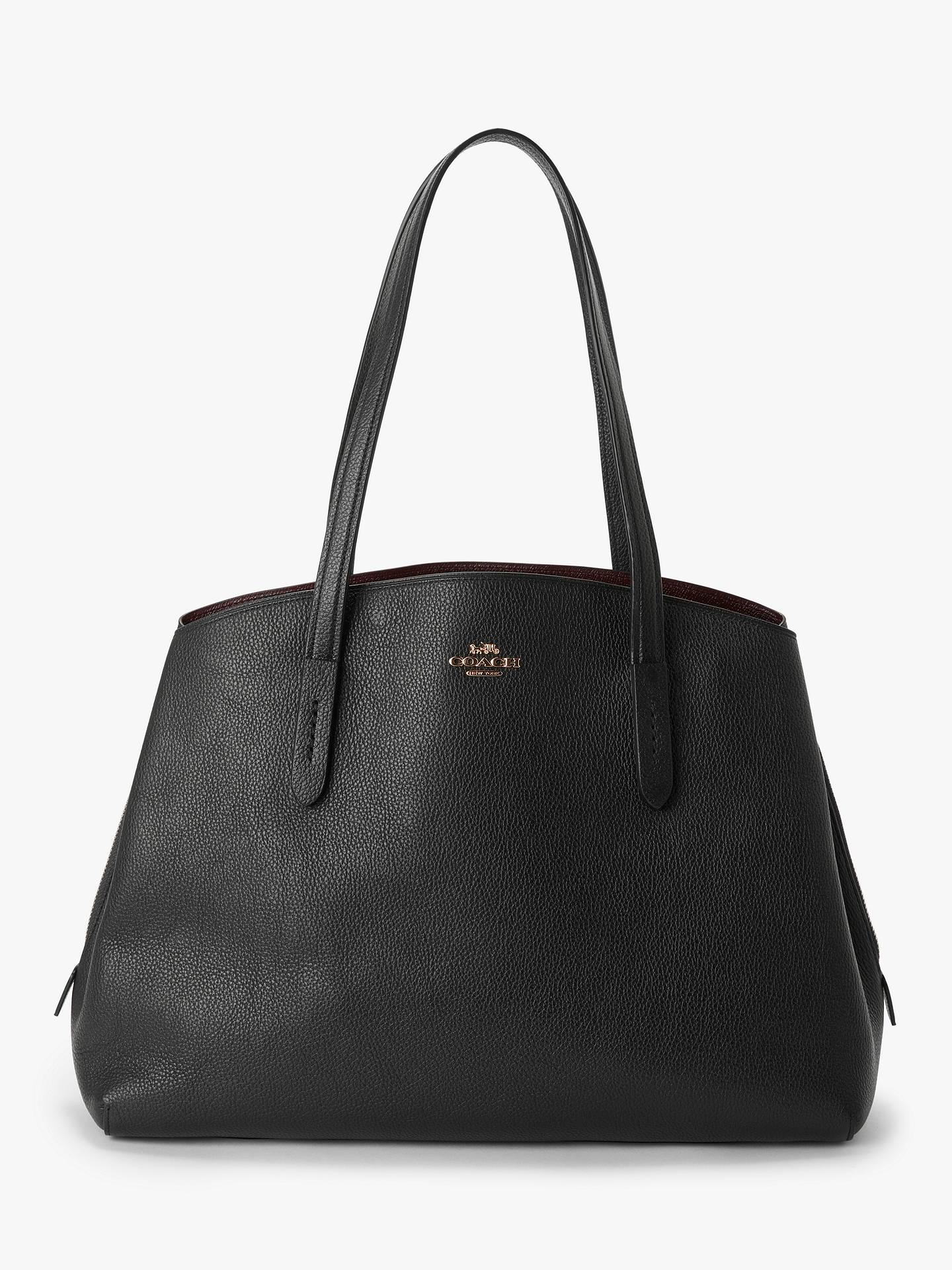 7f9a11ef3b Buy Coach Charlie 40 Leather Carryall Tote Bag, Black Online at  johnlewis.com ...