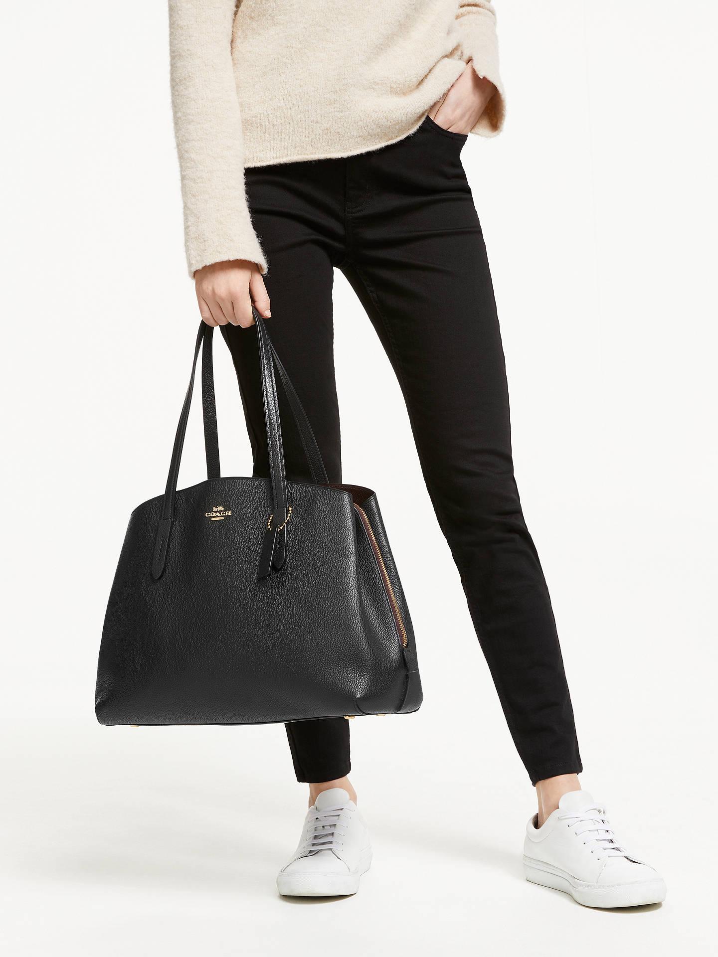 afd0e7b25f ... Buy Coach Charlie 40 Leather Carryall Tote Bag, Black Online at  johnlewis.com ...