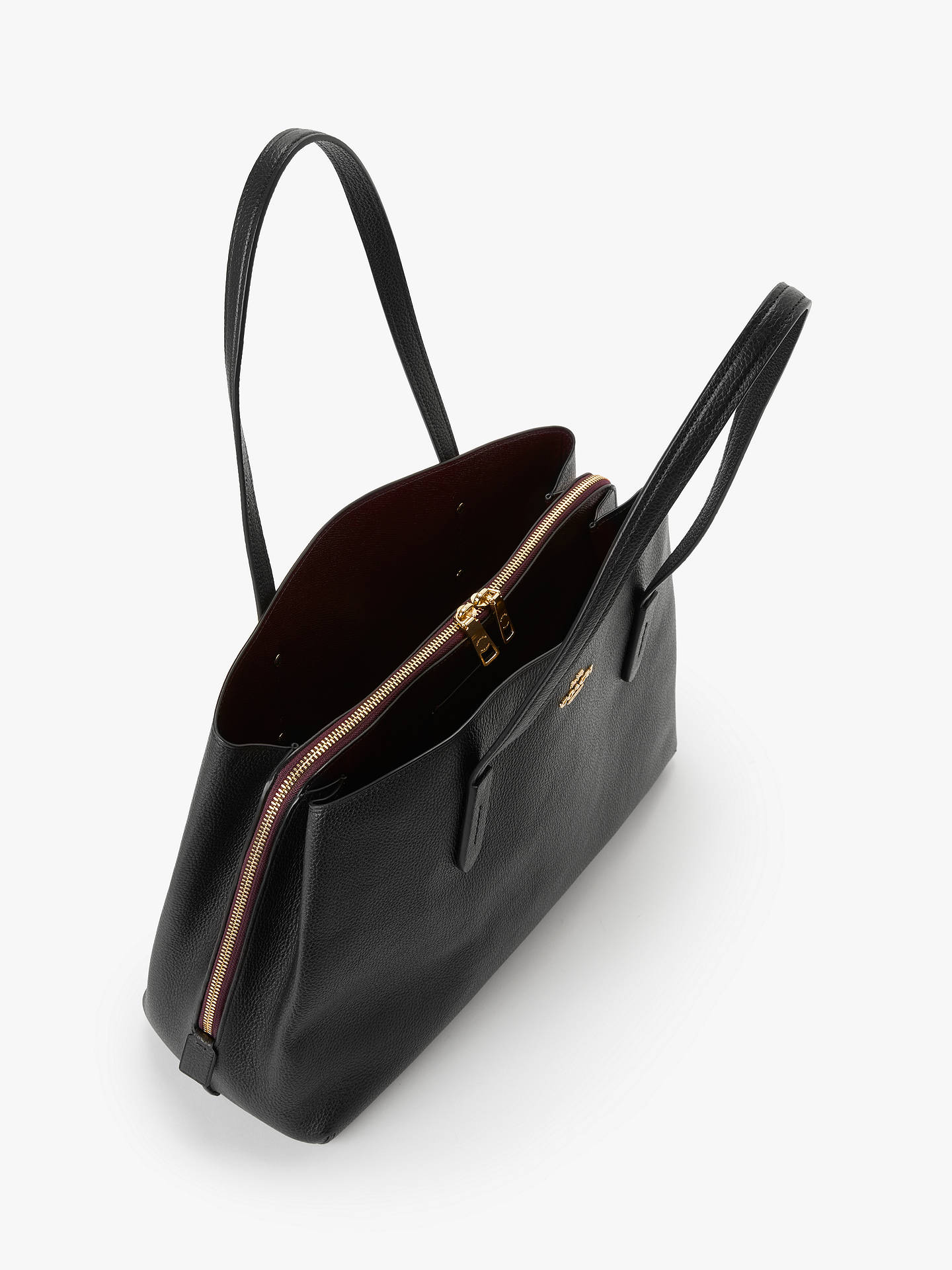 57f0e5fe411752 ... Buy Coach Charlie 40 Leather Carryall Tote Bag, Black Online at  johnlewis.com ...