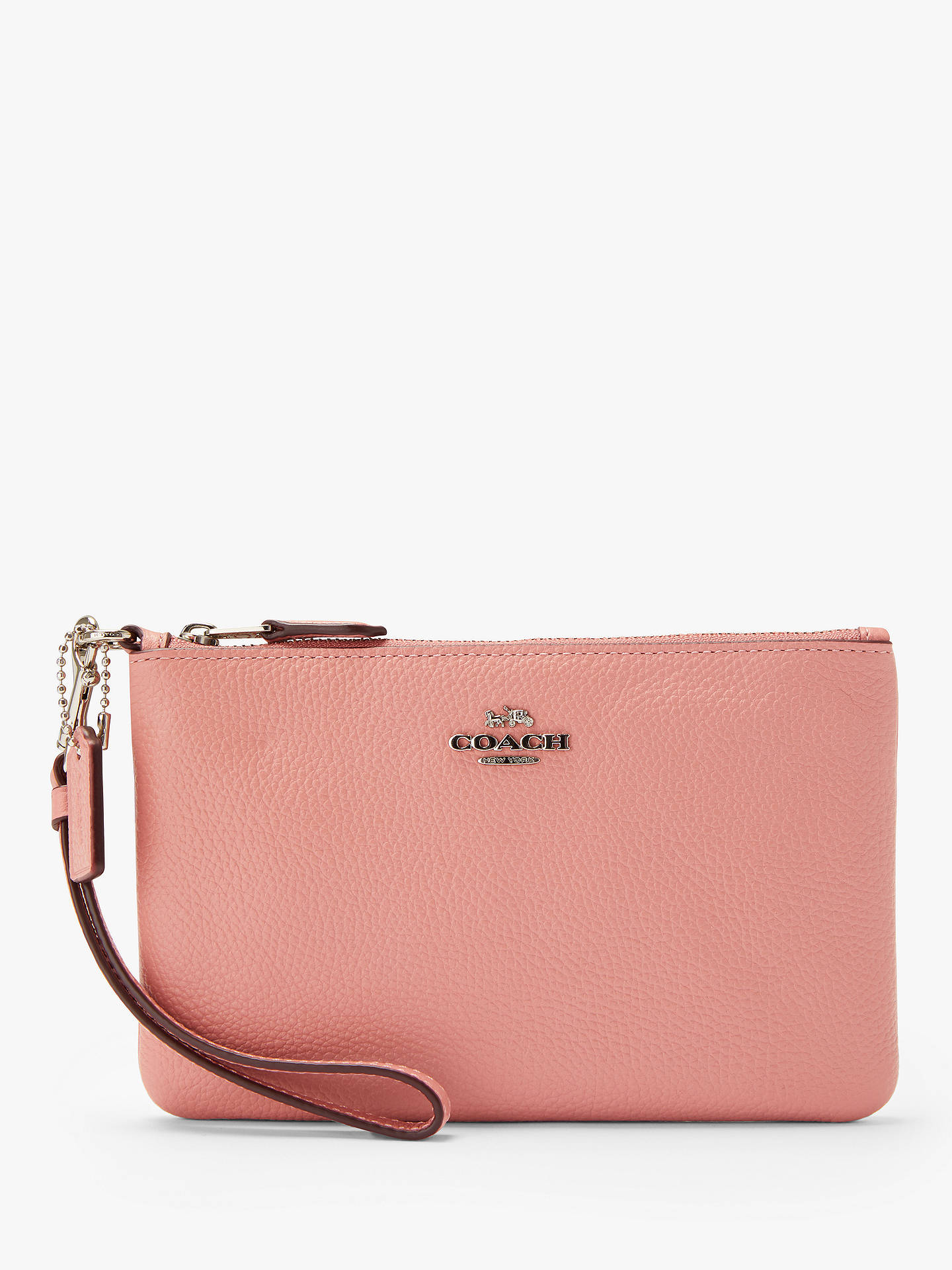 2fb2c161f87 BuyCoach Leather Wristlet Purse, Light Blush Online at johnlewis.com ...