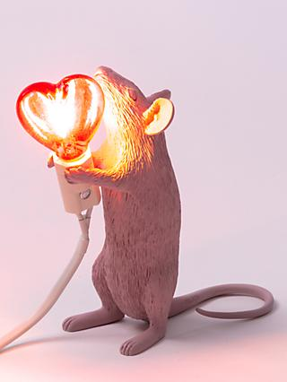 Seletti St Valentine Mouse Table Lamp, Light Pink