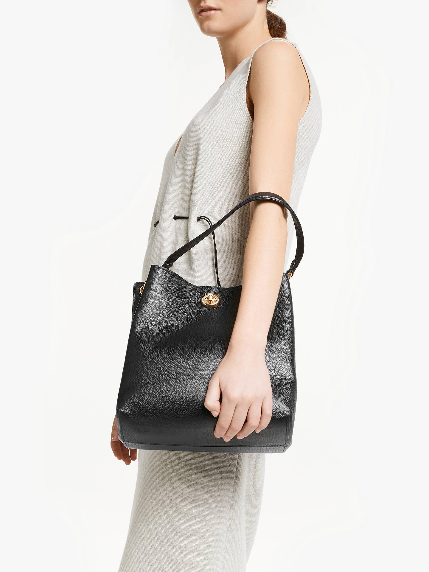 63672def26e65 ... Buy Coach Charlie Leather Bucket Bag, Black Online at johnlewis.com ...
