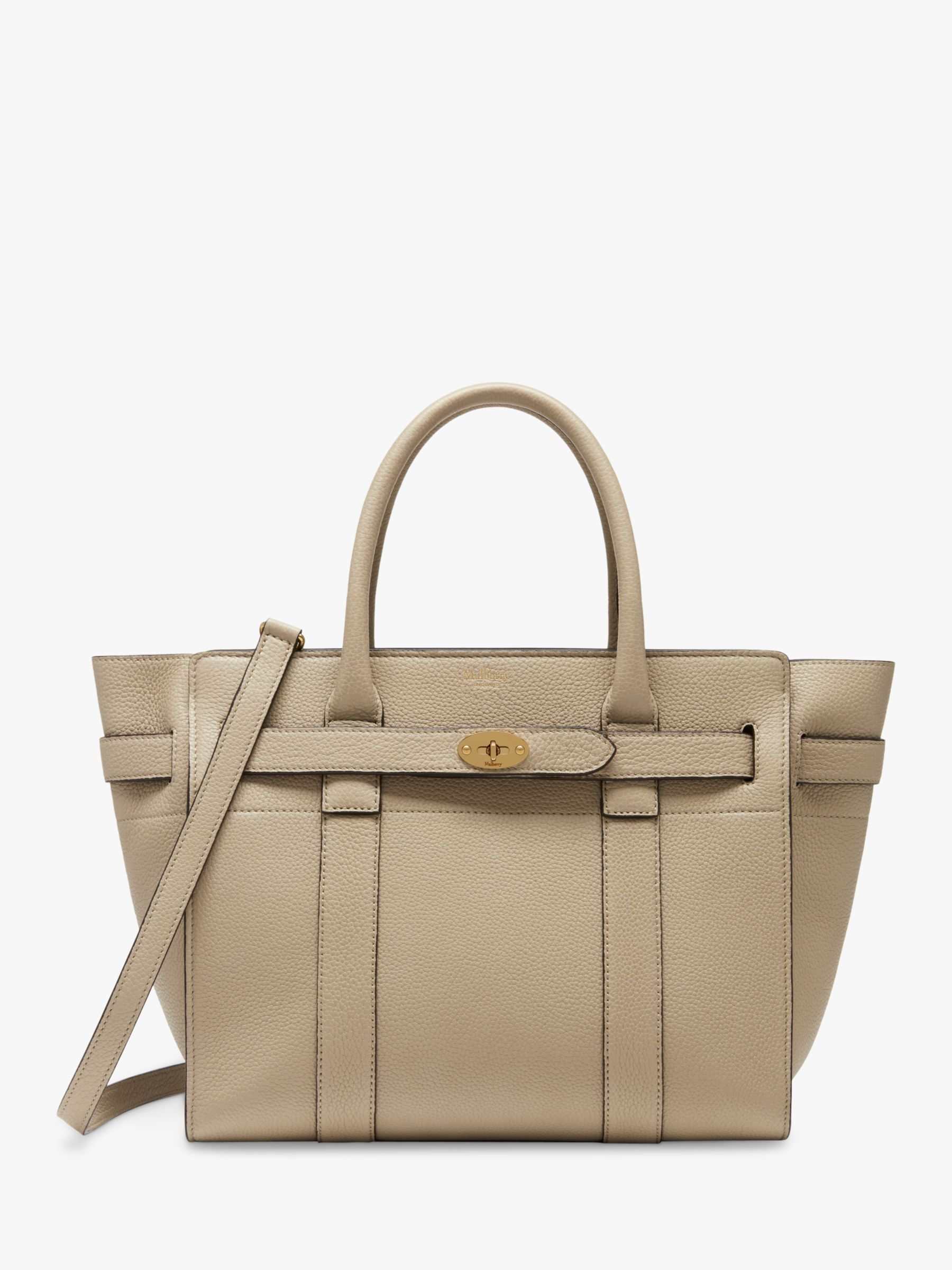 4db72ab7c39e Mulberry Small Bayswater Zipped Classic Grain Leather Tote Bag at John  Lewis   Partners
