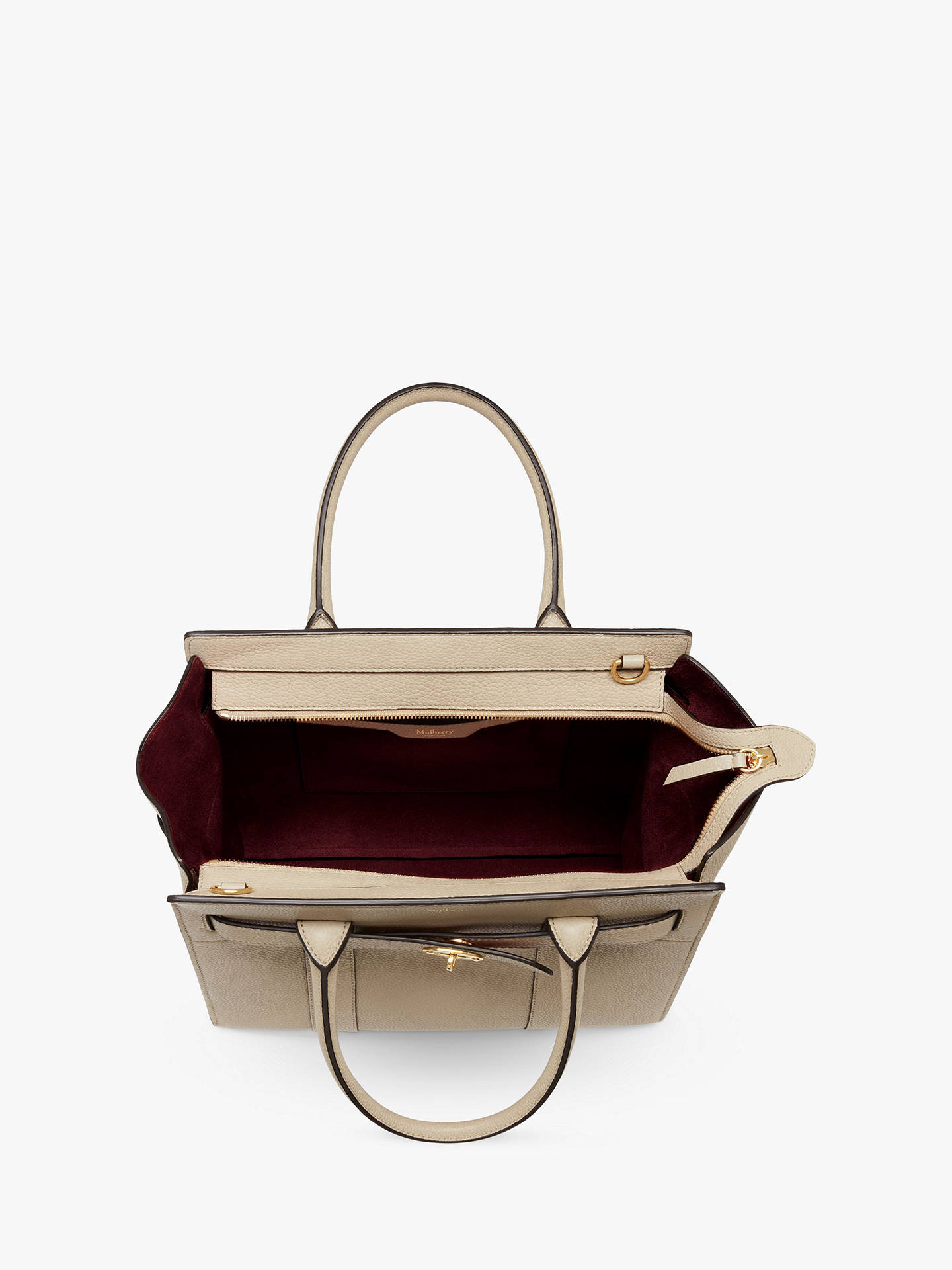 dd0c5aa514 Mulberry Small Bayswater Zipped Classic Grain Leather Tote Bag at ...