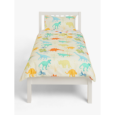 little home at John Lewis Dennis Dinosaur Reversible Duvet Cover and Pillowcase Set, Single, Green