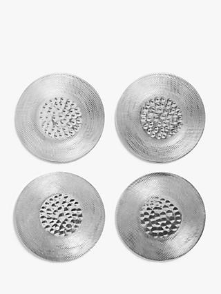 John Lewis & Partners Round Hammered Metal Coasters, Set of 4
