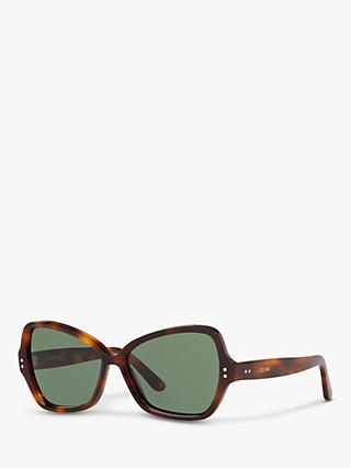 Celine CL40075I Women's Butterfly Sunglasses, Tortoise/Green