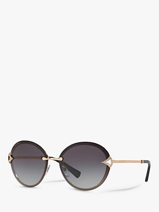 BVLGARI BV6101 Women's Embellished Round Sunglasses, Pink Gold/Grey Gradient