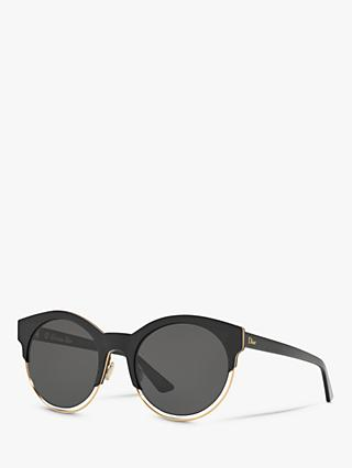 Dior Siderall 1/S Women's Round Sunglasses, Black/Grey