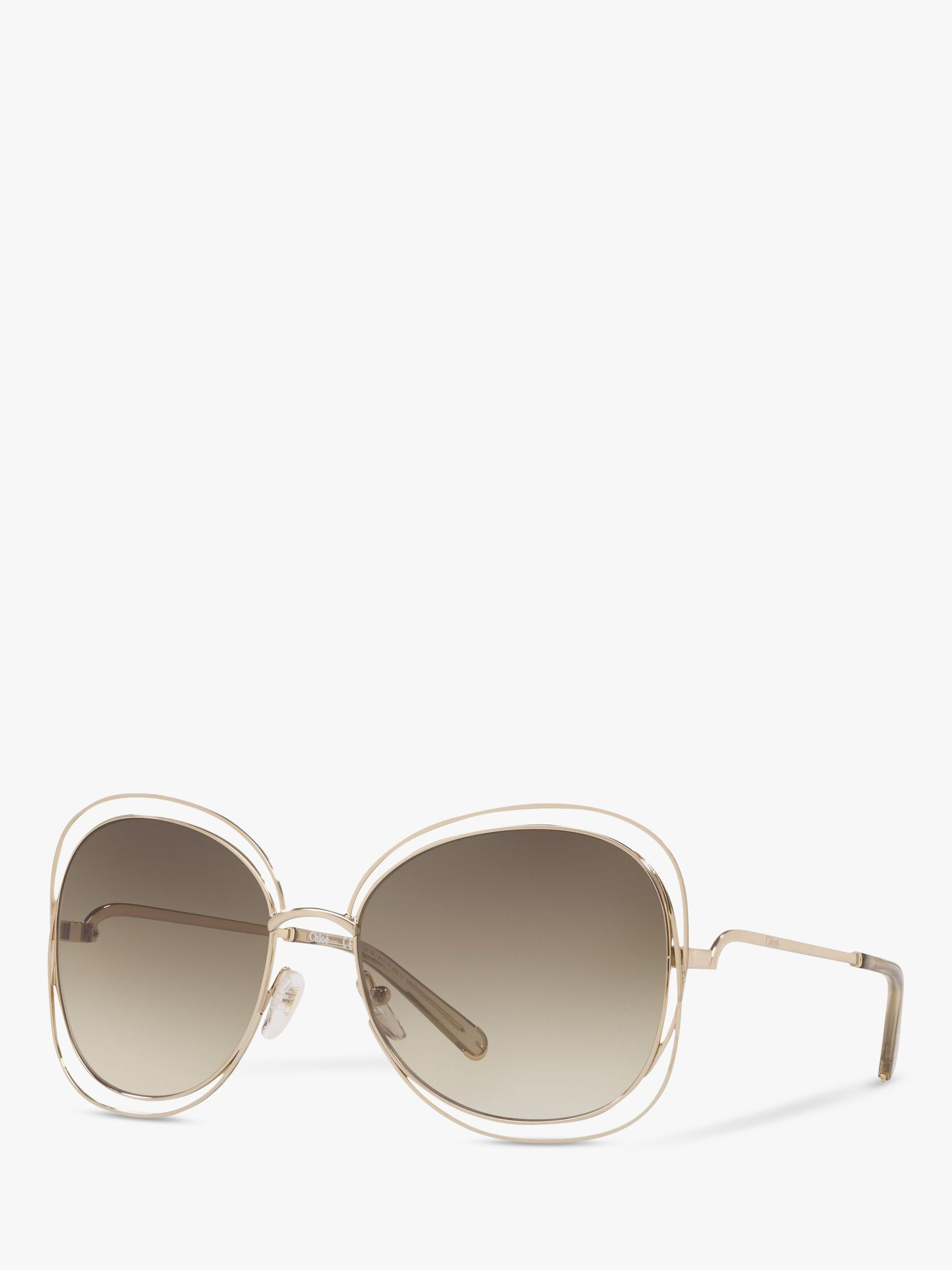 Chloe Chloé 119 Women's Double Rim Aviator Sunglasses, Gold Green