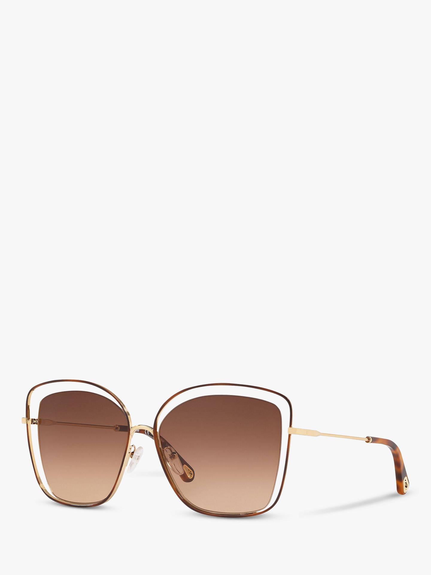 68d9d303 Chloé CE133S Women's Double Rim Square Sunglasses, Gold/Tortoise Brown